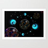 starry night Art Prints featuring Starry Starry Night by inkedsandra