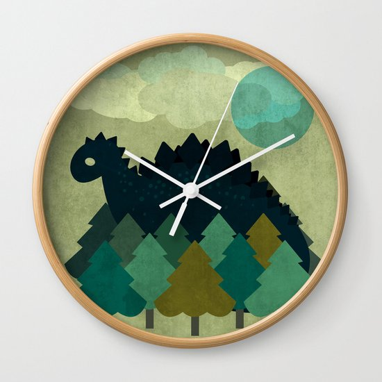 BLUE DINO Wall Clock