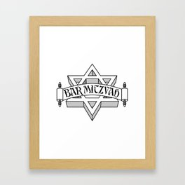 Bar Mitzvah with silver scroll &  Star of David  Framed Art Print