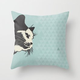 Cat on Blue - Lo Lah Studio Throw Pillow