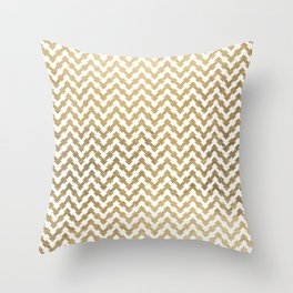 Elegant modern geometrical faux gold chevron pattern Throw Pillow