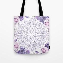 Mandala Rose Garden Lavender Purple Violet Tote Bag