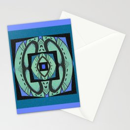 Retro Art Deco Color Therapy Healing Cool Tones Stationery Cards