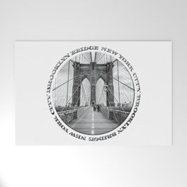Brooklyn Bridge New York City (black & white with text) Welcome Mat