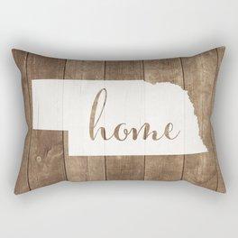 Nebraska is Home - White on Wood Rectangular Pillow