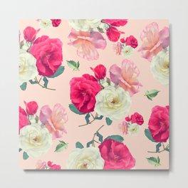 seamless   pattern of rose flowers . Endless texture Metal Print