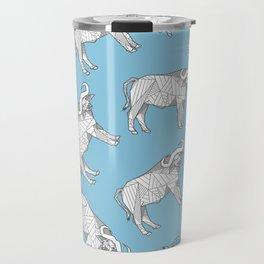 African Animals - Buffalo Blue Travel Mug