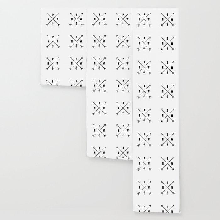 PNW Pacific Northwest Compass - Black on White Minimal Wallpaper