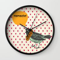 namaste Wall Clocks featuring Namaste! by Sreetama Ray
