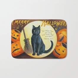Merry Halloween Black Cat Bath Mat