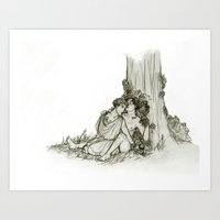 heroes of olympus Art Prints featuring Olympus by InkyThoughts