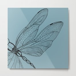 Dragonfly on Blue Metal Print