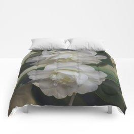 Romantic White Vintage Flowers, Nature Prints, Flower Photography Comforters