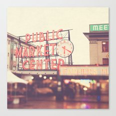 6:20. Seattle Pike Place Public Market photograph Canvas Print