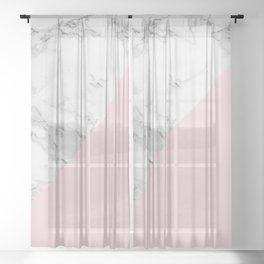 Marble + Pastel Pink Sheer Curtain