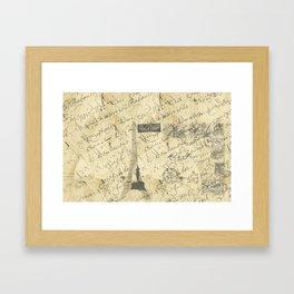 Parisian French Script Framed Art Print