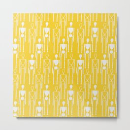 Mustard Yellow and White, Modern People Pattern. Metal Print