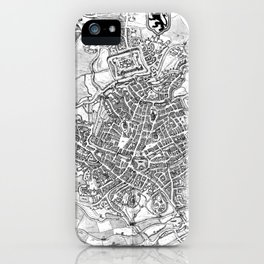 Vintage Map of Ghent Belgium (1650) BW iPhone Case