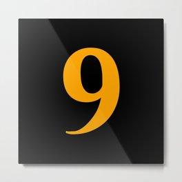 9 (ORANGE & BLACK NUMBERS) Metal Print