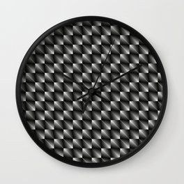 Monochrome woven pattern of paired metal squares and dark rhombs with volumetric triangles. Wall Clock