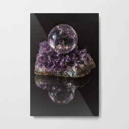 Amethyst crystal ball on Amethyst crystals Metal Print
