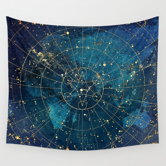 Star Map : City Lights Wall Tapestry