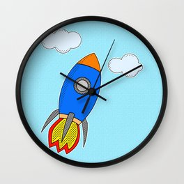 Cartoon Rocket And Clouds Wall Clock