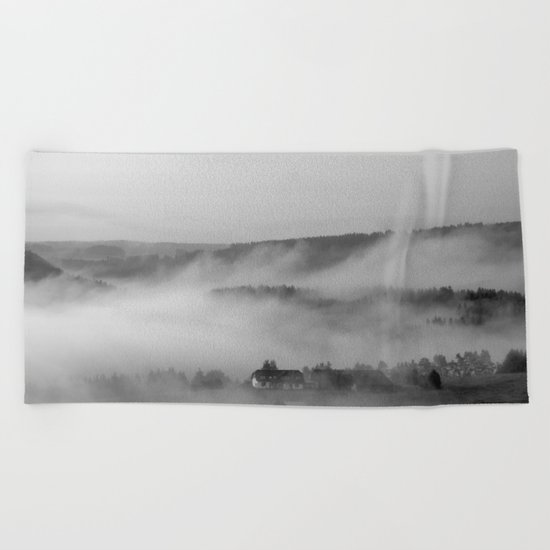 Landscape with fog Beach Towel