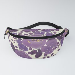 Elegant ivory gold lavender purple watercolor floral  Fanny Pack