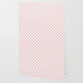 Gingham Pink Blush Rose Quartz Checked Pattern Wallpaper