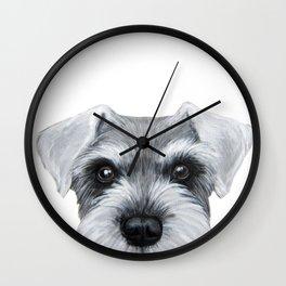 Schnauzer Grey&white, Dog illustration original painting print Wall Clock