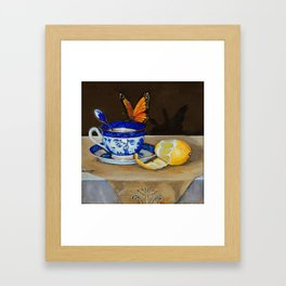Teacup with Butterfly Framed Art Print