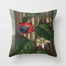 Winged Passion Flowers : Temple of Flora Throw Pillow