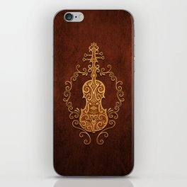 Aged Vintage Brown Tribal Violin Design iPhone Skin