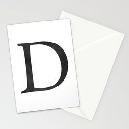Letter D Initial Monogram Black and White Stationery Cards