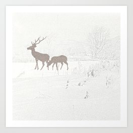 Deer in Snowy landscape Art Print