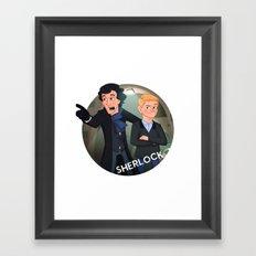 Sherlock Holmes and Watson cartoon Framed Art Print