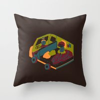 brown Throw Pillows featuring Brown by Marce Farce