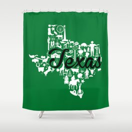 North Texas University Landmark State - Green and Black North Texas University Theme Shower Curtain