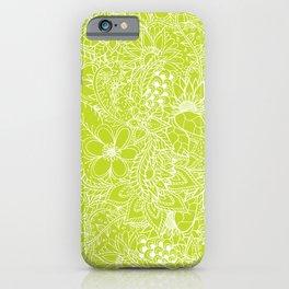 Modern white hand drawn floral lace illustration on lime green punch iPhone Case