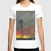 kansas T-shirts featuring windmill kansas by BryanCorbinArt