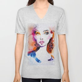 Bright colors beauty fashion illustration Unisex V-Neck