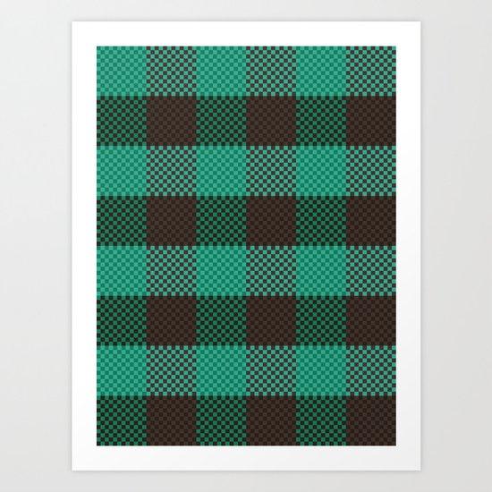 Pixel Plaid - Glacier Melt Art Print