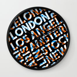 London  - city names text design  orange/blue Wall Clock