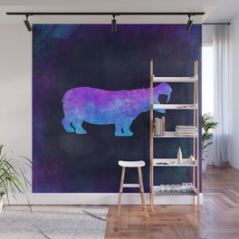 HIPPO IN SPACE // Animal Graphic Art // Watercolor Canvas Painting // Modern Minimal Cute Wall Mural