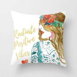 Radiate Positive Vibes Throw Pillow