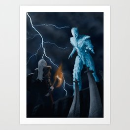 Viking woman against the Ice Giant Art Print