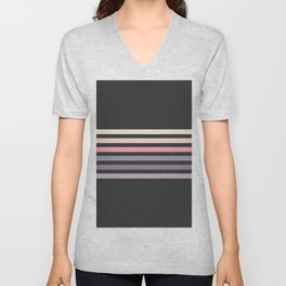 Minimal Muted Abstract Retro Stripes 70s Style - Toshitsune Unisex V-Neck