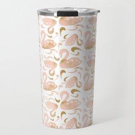 Block Swans Peach and Gold Pattern Travel Mug