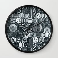 blankets Wall Clocks featuring Math Class by Chicca Besso